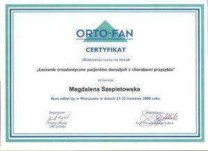 Certyfikat otrzymany przezdobrego ortodontę zWarszawy