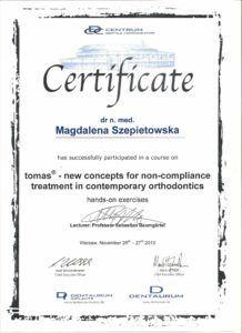 Certyfikat ukończenia kursu dotyczącego ortodoncji